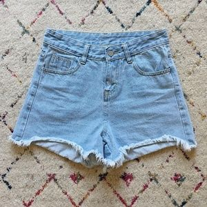 Pants - Light Wash High Waisted Denim Shorts